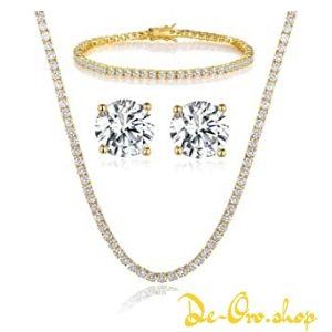 conjunto de cadena, aretes y pulsera de oro