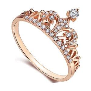 anillo corona de oro rosa con brillantes