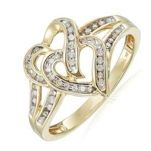 anillo de oro para mujer con corazones y brillantes