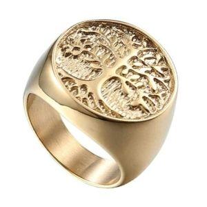 anilo de sello de oro arbol de la vida