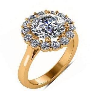 anillo halo de oro con diamante y brillantes