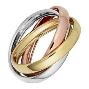 anillo trinity de oro amarillo blanco y rosa