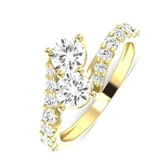 anillo tu y yo de oro con dos diamantes