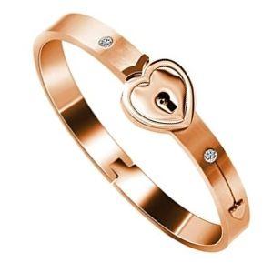 brazalete de amistad de oro rosa con corazon