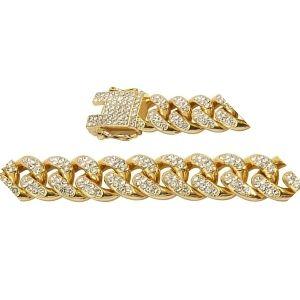 cadena cubana de oro diamantada