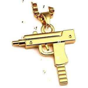 colgante pistola ametralladora uzi de oro