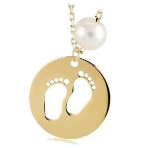 colgante huella pies de bebe de oro con perla