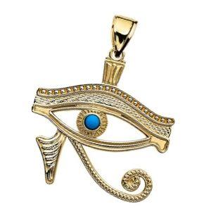 colgante egipcio de oro con ojo azul de Horus