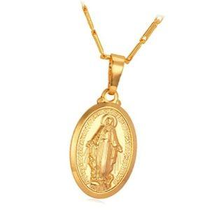 colgante escapulario de oro con imagen de la virgen