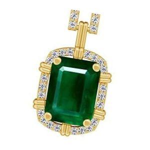 colgante de piedra esmeralda engastado en oro con brillantes