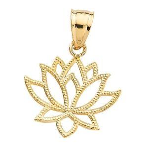 colgante flor de loto de oro amarillo