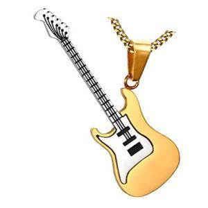colgante guitarra oro y plata