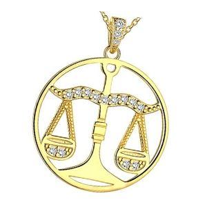 colgante horoscopo signo libra de oro y brillantes