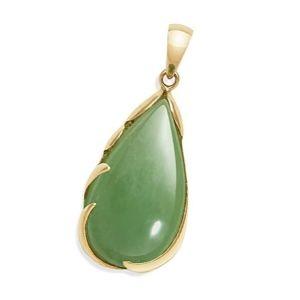 colgante piedra de jade y oro