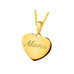 colgante mamá en forma de corazón de oro