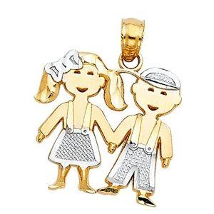 colgante niño y niña en oro
