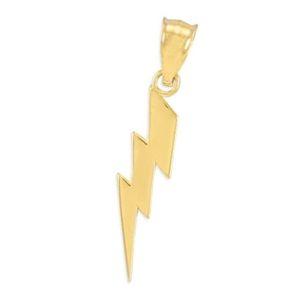 colgante de oro en forma de rayo