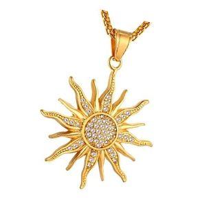 colgante sol en oro y con brillantes
