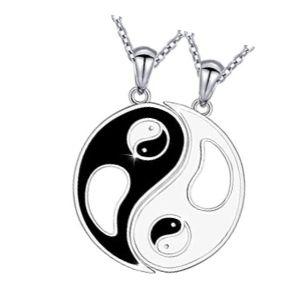 colgante yin yang oro negro y blanco para dos
