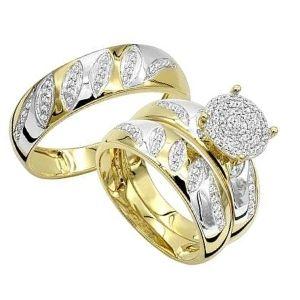 conjunto o juego de anillos de compromiso de oro