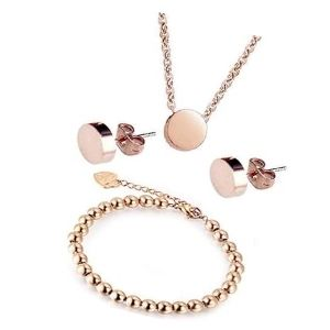 conjunto o juego de brazalete, collar y pendientes de oro rosa