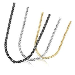 conjunto o juego de cadenas de oro amarillo, blanco y negro