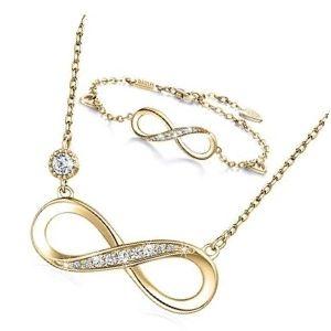 conjunto o juego de collar y pulsera de oro con simbolo de infinito