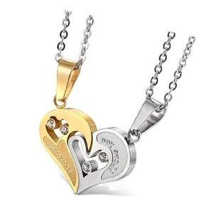 conjunto de collares de corazon en oro amarillo y blanco