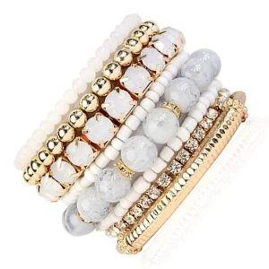conjunto o juego de pulseras de oro con perlas y diamantes