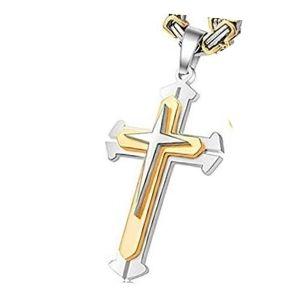 cruz bizantina de oro amarillo y blanco