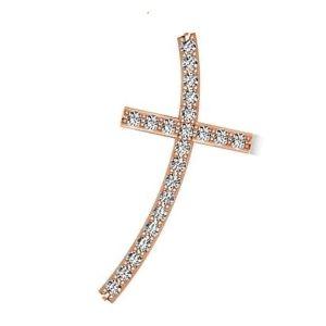 cruz curvada de oro rosa con brillantes