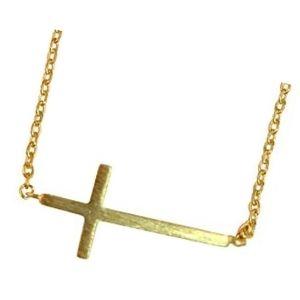 cruz horizontal de oro con cadena