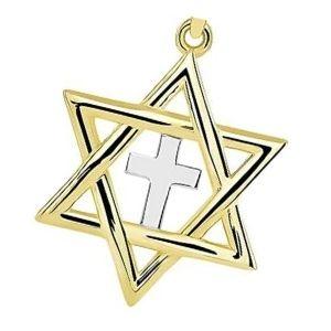 cruz judia de oro y plata