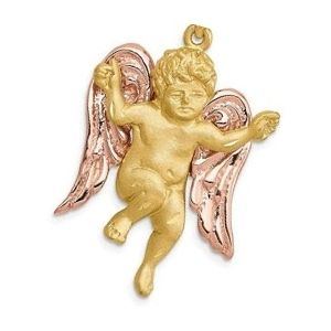dije de angel de oro amarillo y rosa