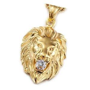 dije de oro en forma de leon con diamante