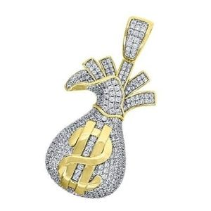 dije bolsa de dinero de oro amarillo y blanco