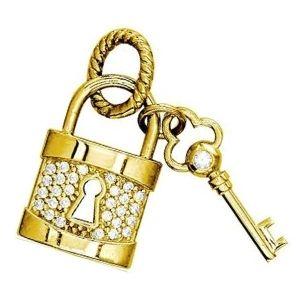 dije de candado y llave de oro