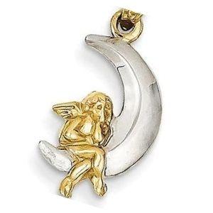 dije de luna con angel de oro y plata