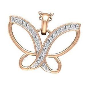 dije de mariposa de oro rosa con brillantes