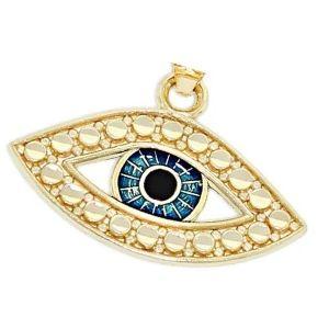 dije de ojo turco de oro y zafiro azul