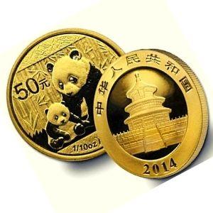 moneda panda chino de oro