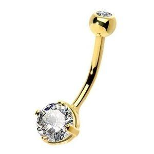 piercing de oro para ombligo con diamante
