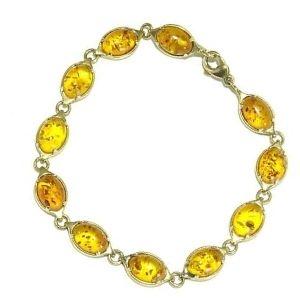 pulsera de oro y piedras ambar