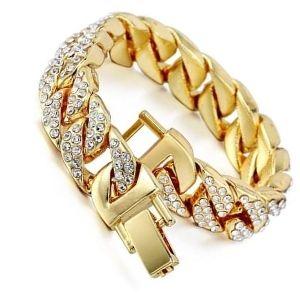 pulsera cubana de oro y diamantes