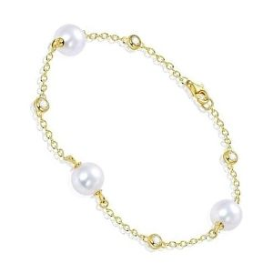 pulsera de perlas y oro