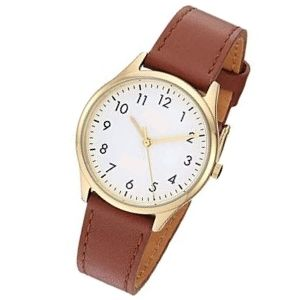 reloj analógico redondo con correa de cuero