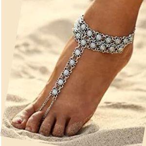 tobillera con anillo para dedo de pies descalzos