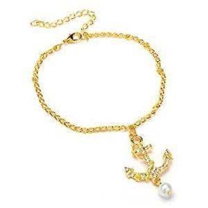 tobillera de ancla de oro con perla