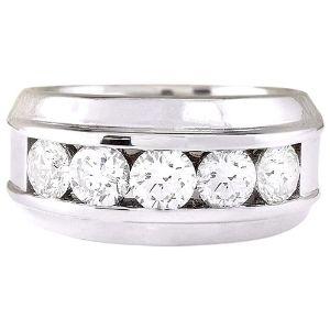 anillo de boda para hombre, de oro blanco de 14 k, con diamante