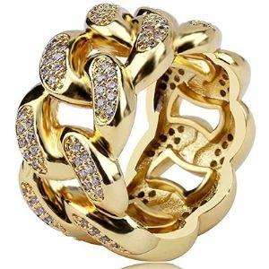 anillo para hombre, de enlace cubano, chapado en oro de 18 k, con circonita cubica